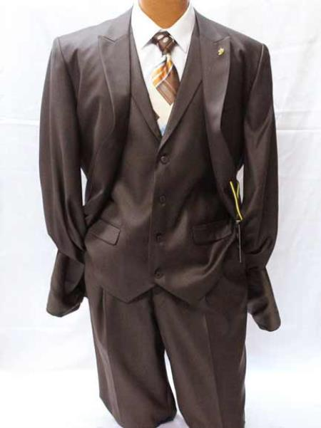 Falcone Pett Brown Polyester 2 Button Peak Lapel Solid Vested Suit