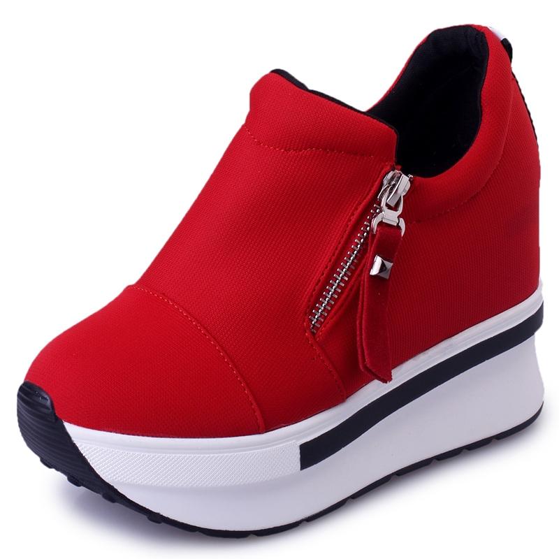 Ericdress Zipper Round Toe Platform Plain Women's Sneakers