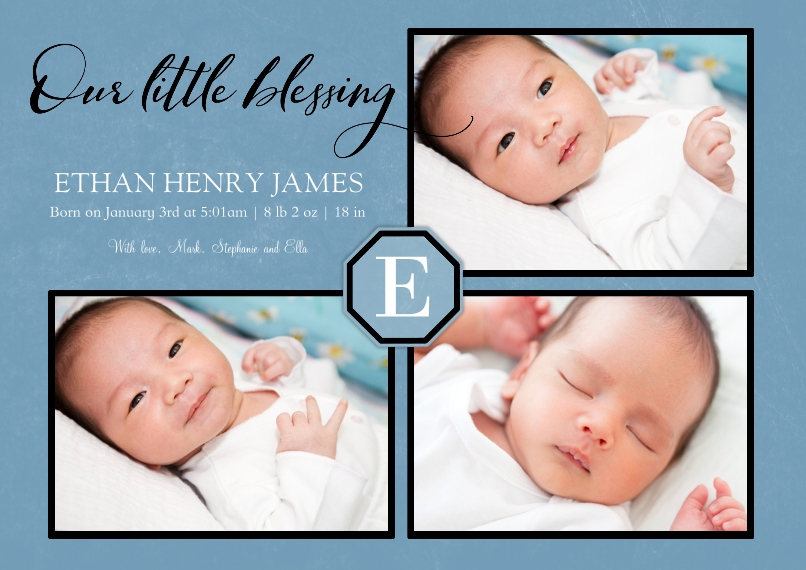 Baby Announcements Set of 20, Premium 5x7 Foil Card, Card & Stationery -Little Blessing Blue