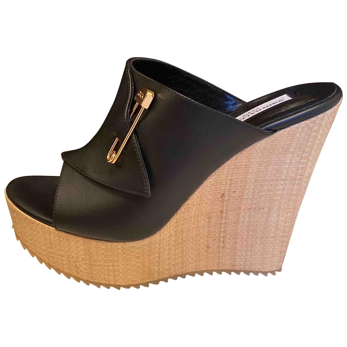 John Galliano - Sandales   pour femme en cuir - noir