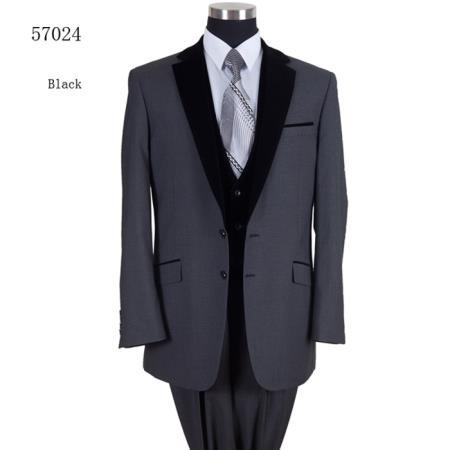 Two Tones Tuxedo Black Lapeled Vested Tuxedo Formal Dinner Suit Black