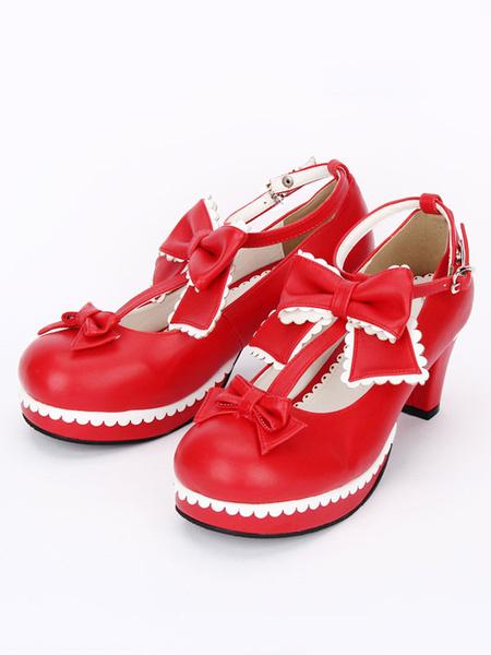 Milanoo Sweet Lolita Shoes White Round Toe Cone Heel T Strap Lolita Shoes