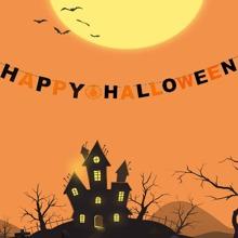1 Stueck Zugfahne mit Halloween Buchstaben Design