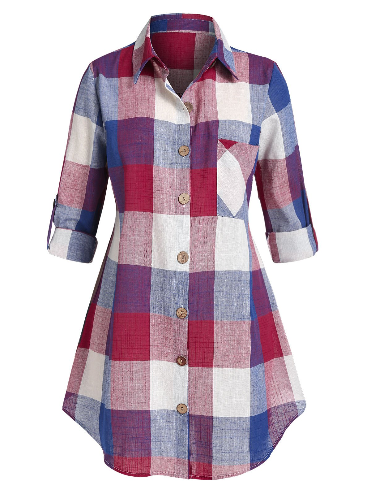 Plus Size Plaid Turn-down Collar Blouse