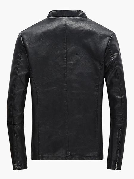 Milanoo Men PU Jacket Stand Collar Zipper Biker Jacket Long Sleeve Black Leather Jacket