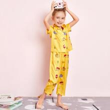 Toddler Girls Lapel Cartoon Graphic PJ Set