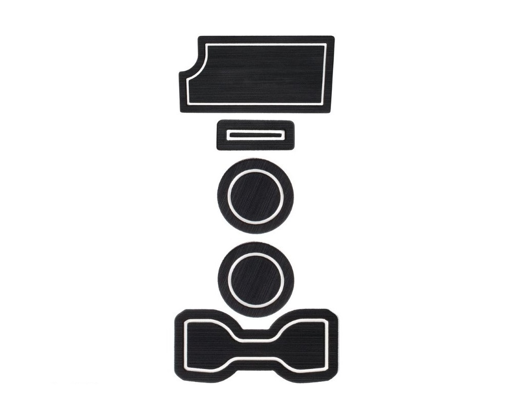 Tufskinz TAC010-FWE-X Interior Cup Holder Inserts Fits 2016-2020 Toyota Tacoma Manual Transmission Include Qi Charger Trim 6 Piece Kit In Black/White