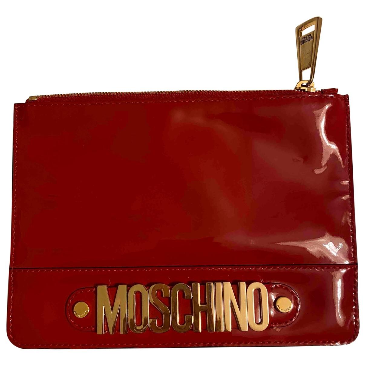 Moschino - Pochette   pour femme en cuir verni - rouge