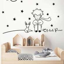 Pegatina mural con estampado de estrella con niño de dibujos animados