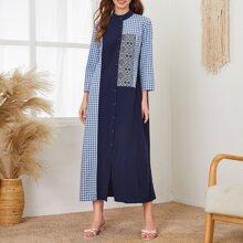 Kleid mit Karo & Stamm Muster und Knopfen