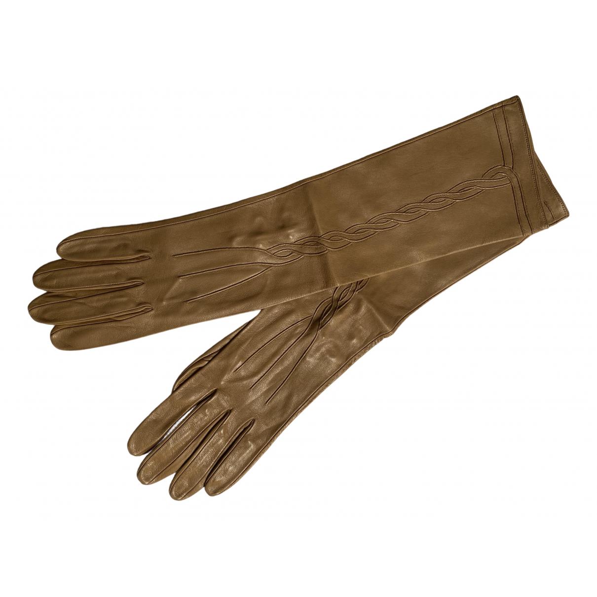 Bottega Veneta \N Camel Leather Gloves for Women 7.5 Inches