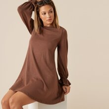 Flounce Sleeve Solid Dress