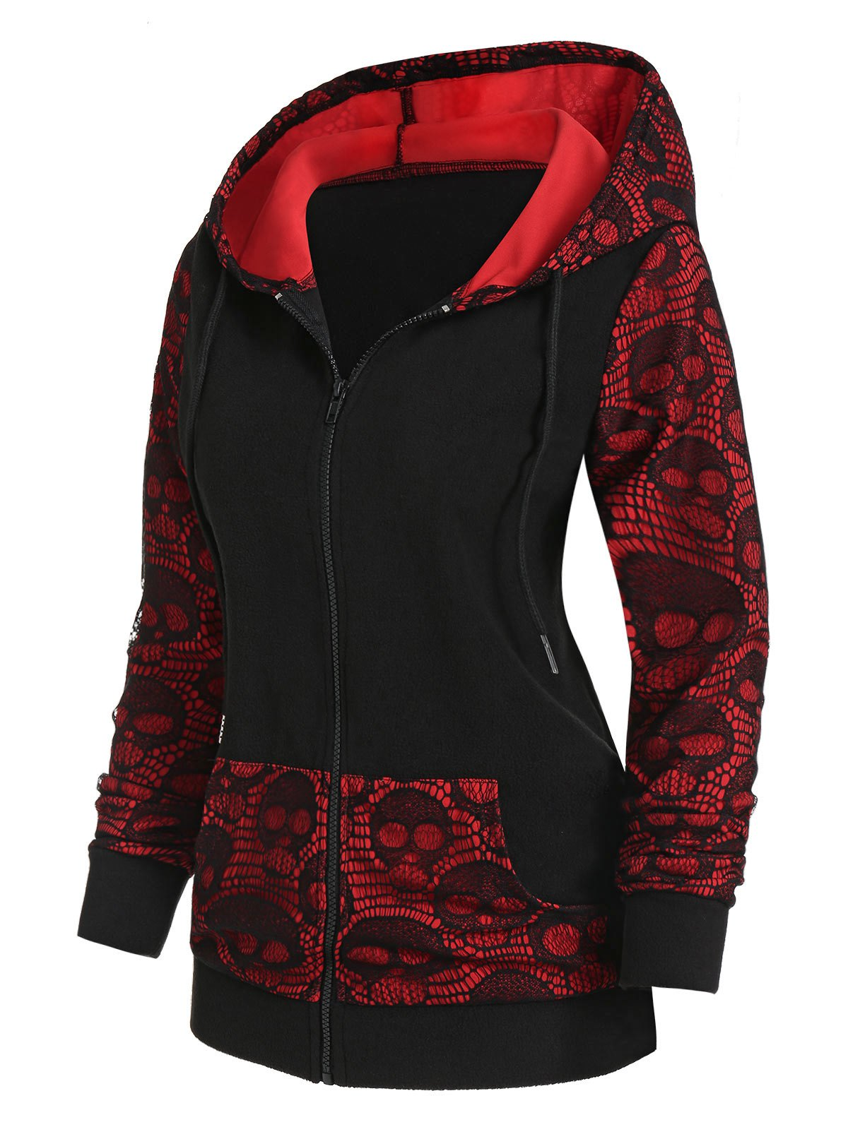 Skull Graphic Lace Panel Zip Up Hoodie