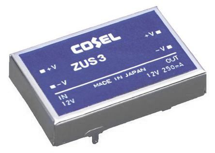 Cosel 3W Isolated DC-DC Converter Through Hole, Voltage in 18 → 36 V dc, Voltage out 5V dc