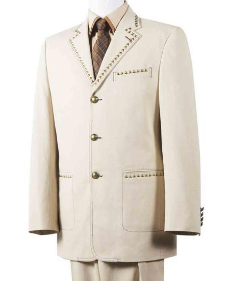 2 Piece Taupe Wide Notch Lapel Cotton Diamond Nail Head Denim Suit