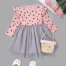Kleid mit Herzen Muster, Farbblock und Rueschen