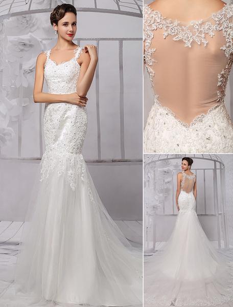 Milanoo Luxury Lace Sheer Back Tulle Mermaid Spaghetti Straps Wedding Dresses With Detachable Train