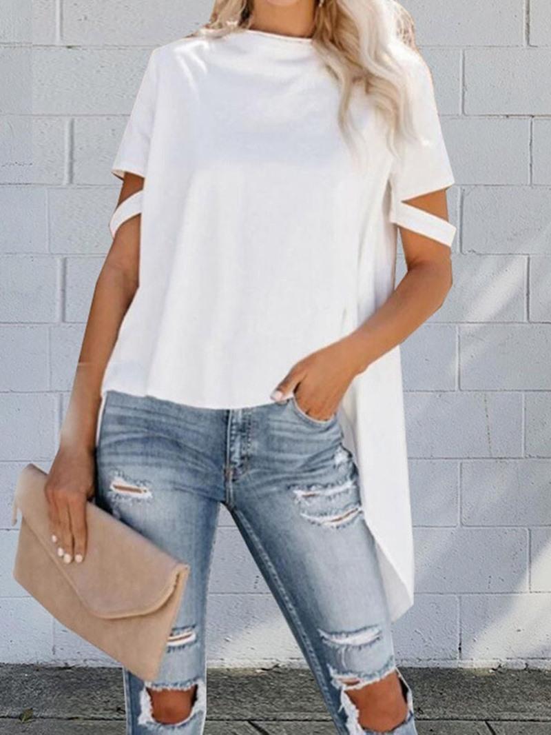 Ericdress Plain Mid-Length Short Sleeve Loose Casual T-Shirt