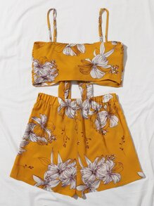 Floral Tie Front Cami Top With Shorts