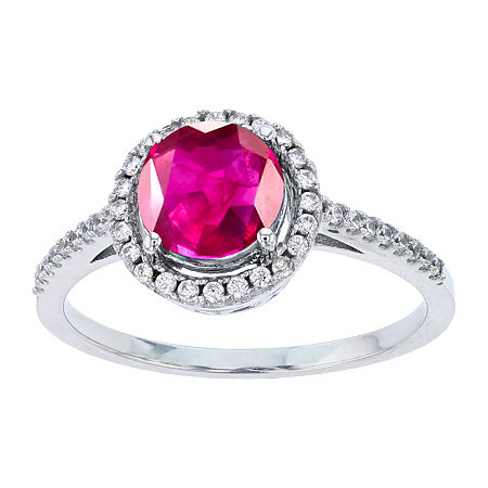 Womens Lab Created Red Ruby Sterling Silver Halo Cocktail Ring, 7 , No Color Family