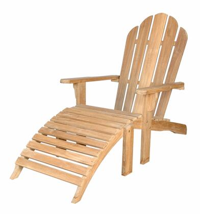 AD-036 29 Adirondack With Ottoman  Deep Curved Seat and Low Flat Arms in Natural