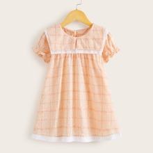 Toddler Girls Plaid Plants Print Babydoll Dress