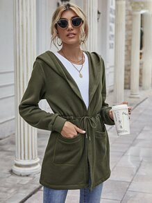 Double Pocket Drawstring Waist Hooded Coat