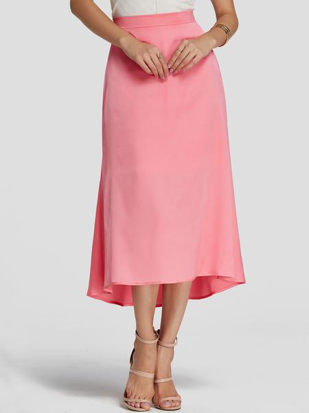 YOINS Pink Plain Elastic strap Loose Waist Lady Style Skirt