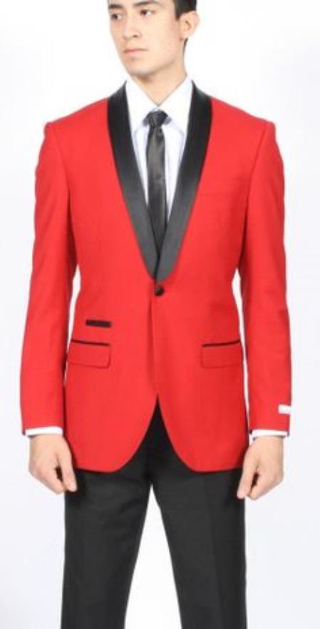 Mens Red Dinner Jacket Tuxedo Suit and Black Lapel Formal Attire