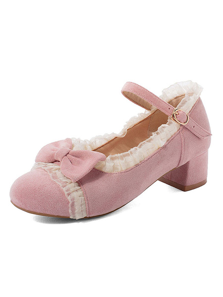 Milanoo Sweet Lolita Shoes Pink Bow Lace Micro Suede Upper Puppy Heel Lolita Pumps