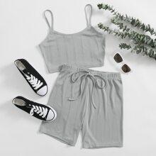 Einfarbiges texturiertes Crop Cami Top & Shorts mit Knoten