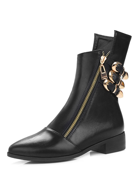 Milanoo Black Motorcycle Boots Women Pointed Toe Buckle Detail Zip Up Ankle Boots