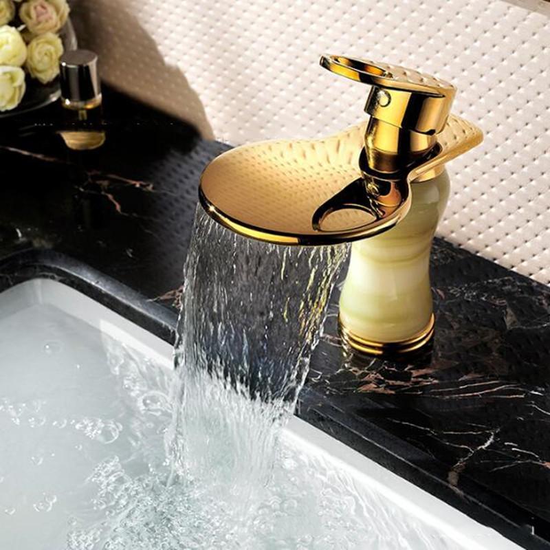 European Golden Mirror Bathroom Basin Waterfall Spout Faucet Cold & Hot Mixer Tap Single Handle Copper Deck Mount