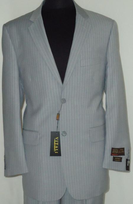 Mens Gray Classic Business Pinstripe Designer 2 Button Suit Gray