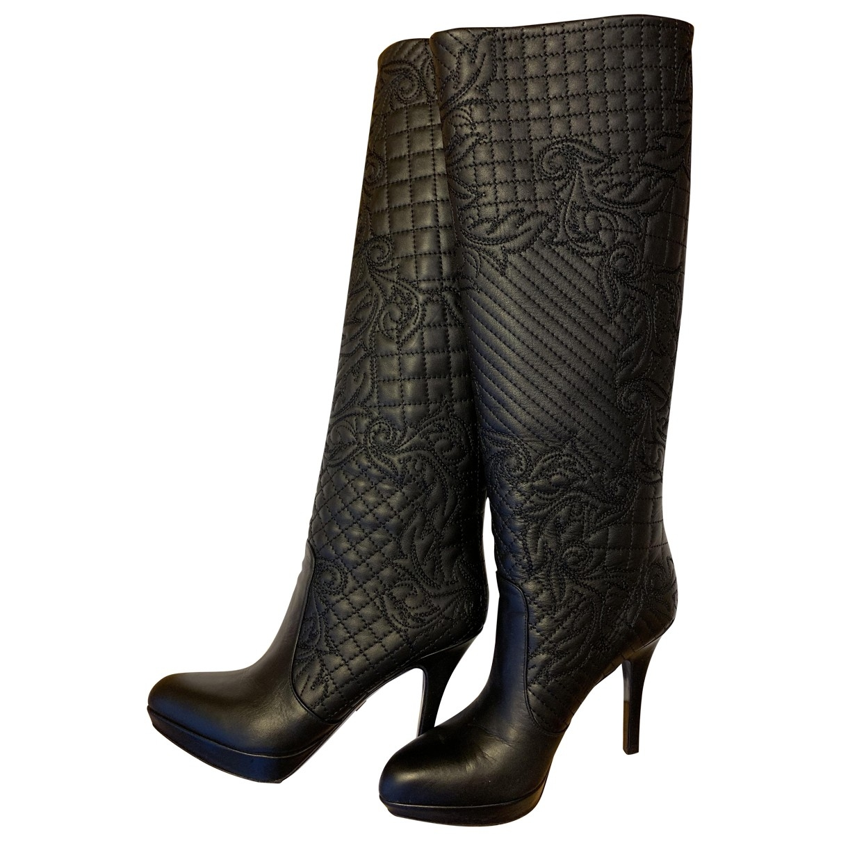 Gianni Versace \N Black Leather Boots for Women 36.5 EU