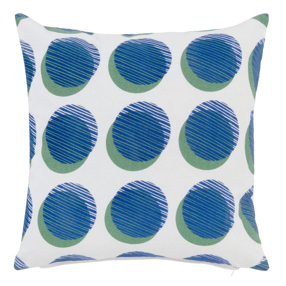 Kissenbezug aus Baumwolle, weiss, blau und gruen bedruckt 40x40