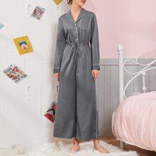 Mono de pijama de cintura con cordon unido en contraste con bolsillo delantero con bolsillo delantero de cuello V