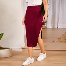 Elastic Waist Split Thigh Rib-knit Skirt