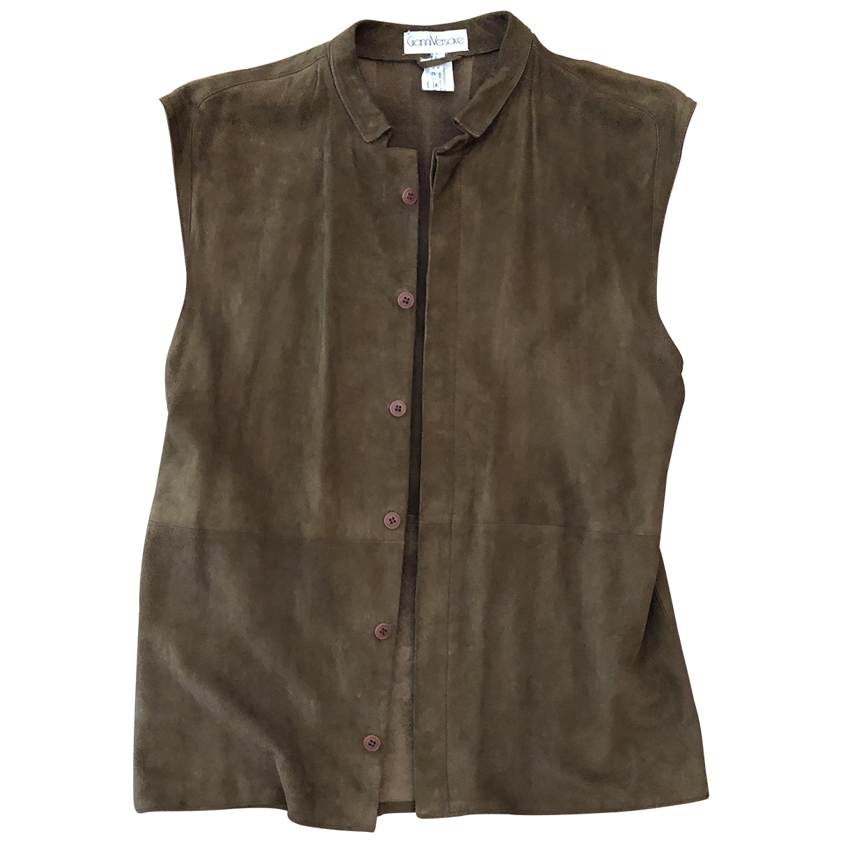 Gianni Versace \N Brown Leather Knitwear for Women 48 IT