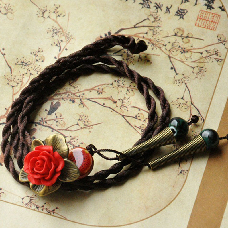 Vintage Flower Pendant NecklaceRound Bead Trumpet Charm Necklace Ethnic Jewelry for Women