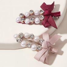Horquila con diseño de lazo con perla artificial 2 piezas