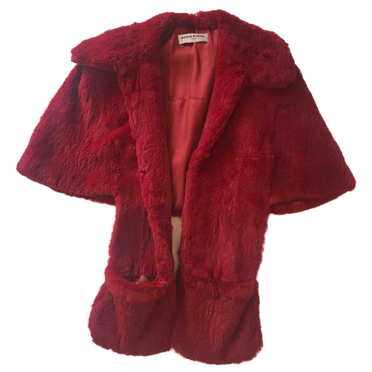 Sonia Rykiel - Manteau   pour femme en lapin - rouge
