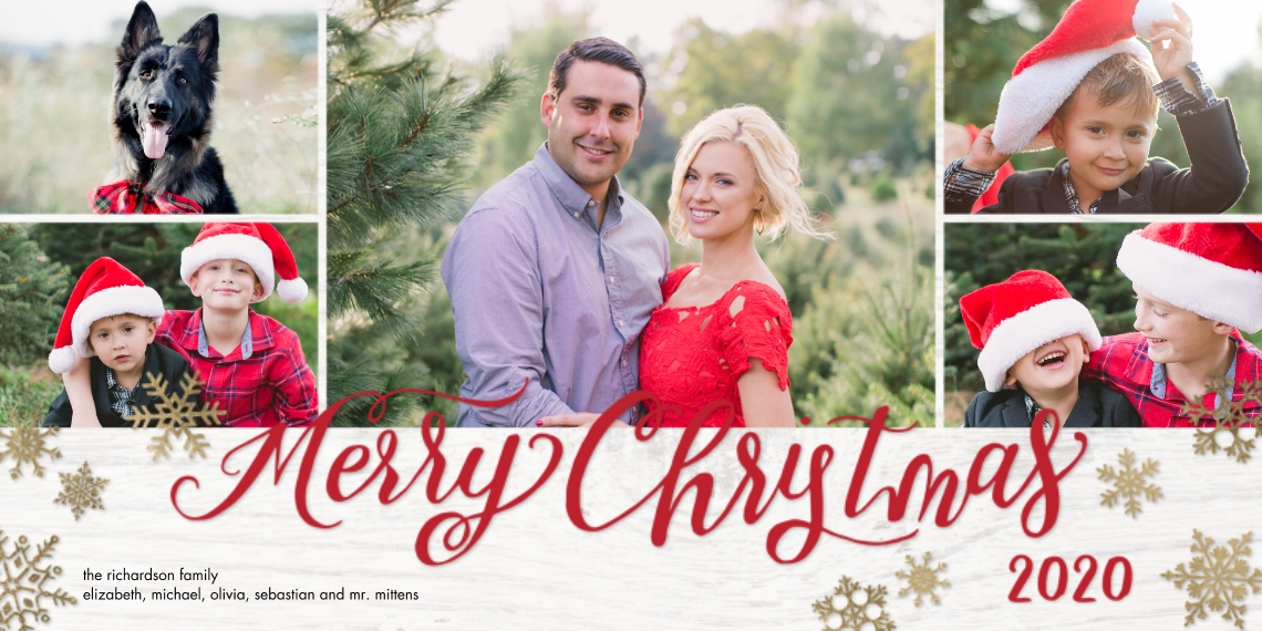 Christmas Photo Cards Flat Matte Photo Paper Cards with Envelopes, 4x8, Card & Stationery -2020 Christmas Rustic Snowflakes by Tumbalina