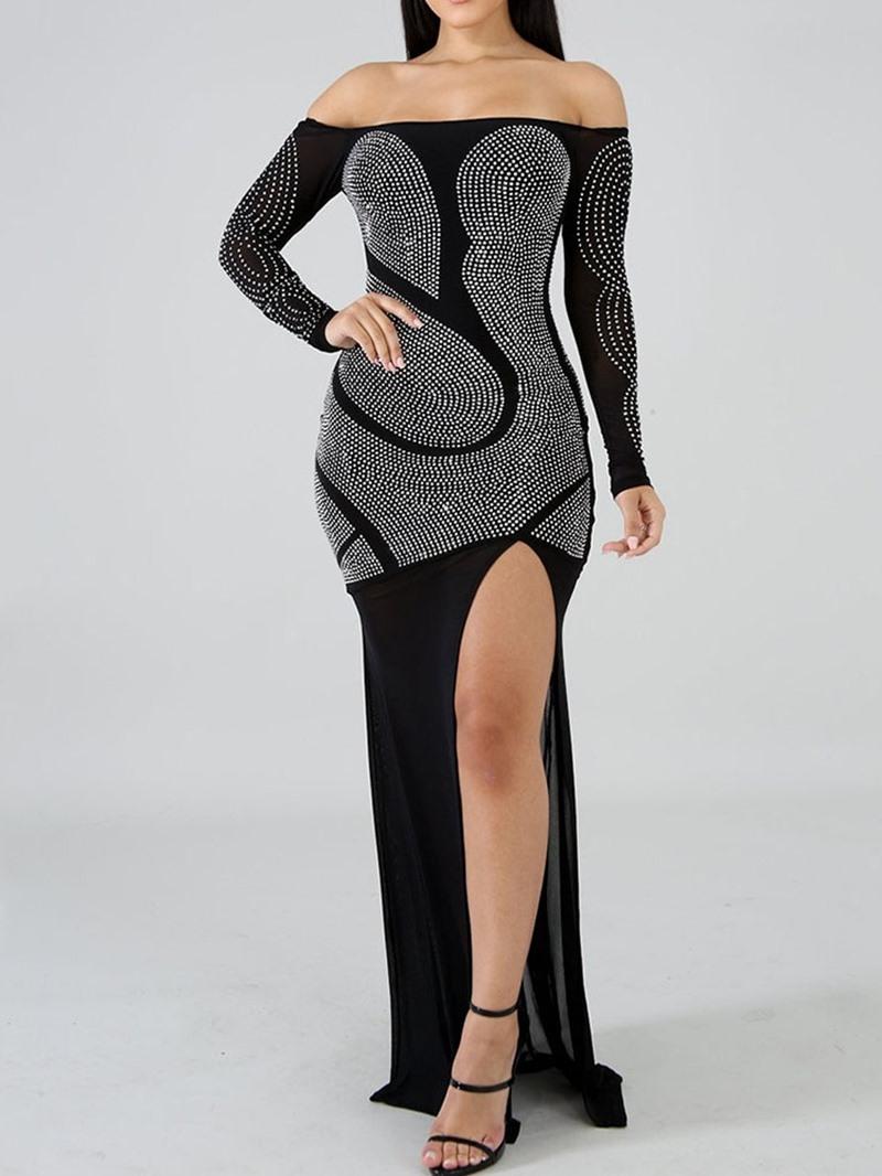 Ericdress Off Shoulder Floor-Length Long Sleeve Sexy Regular Dress