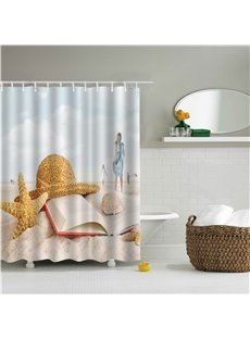 3D Starfish and Hat Printed Polyester Bathroom Shower Curtain