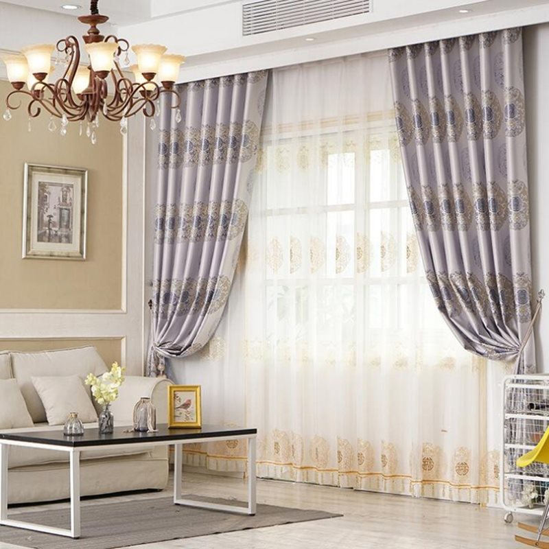 European Style Elegant and Classical 2 Panels Decorative Sheer Curtains