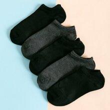 5 Paare Maenner einfarbige Socken