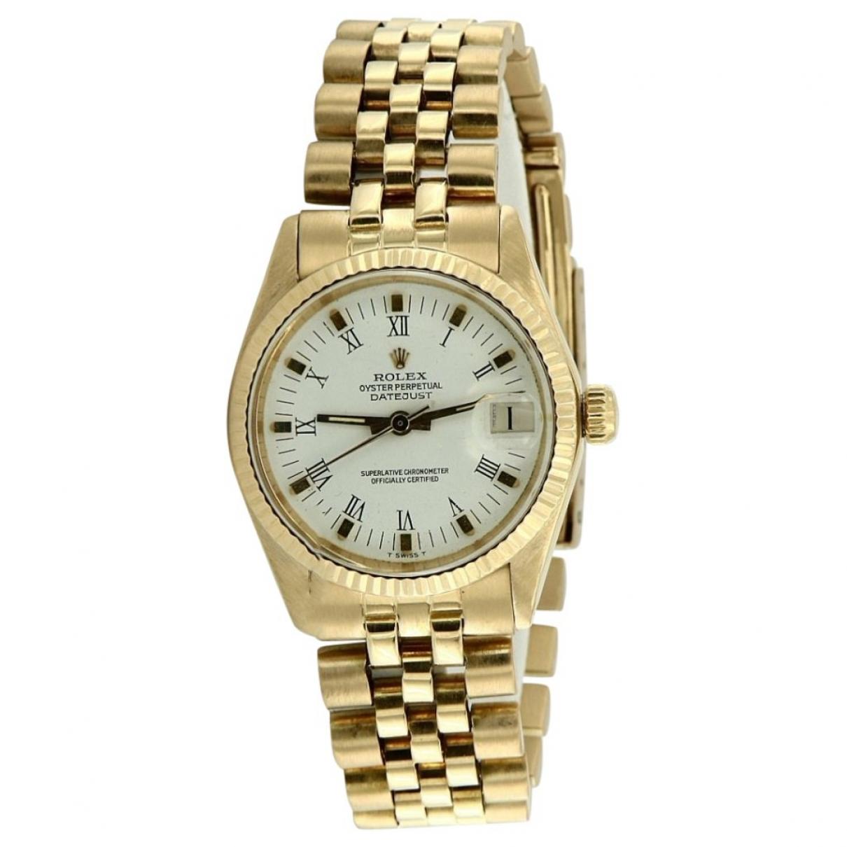 Rolex - Montre Datejust 31mm pour femme en or jaune - dore