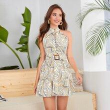 Leaves Print Tie Back Belted Half Button Dress