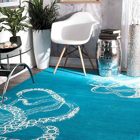 nuLoom Hand Tufted Octopus Tail Rug, One Size , Blue